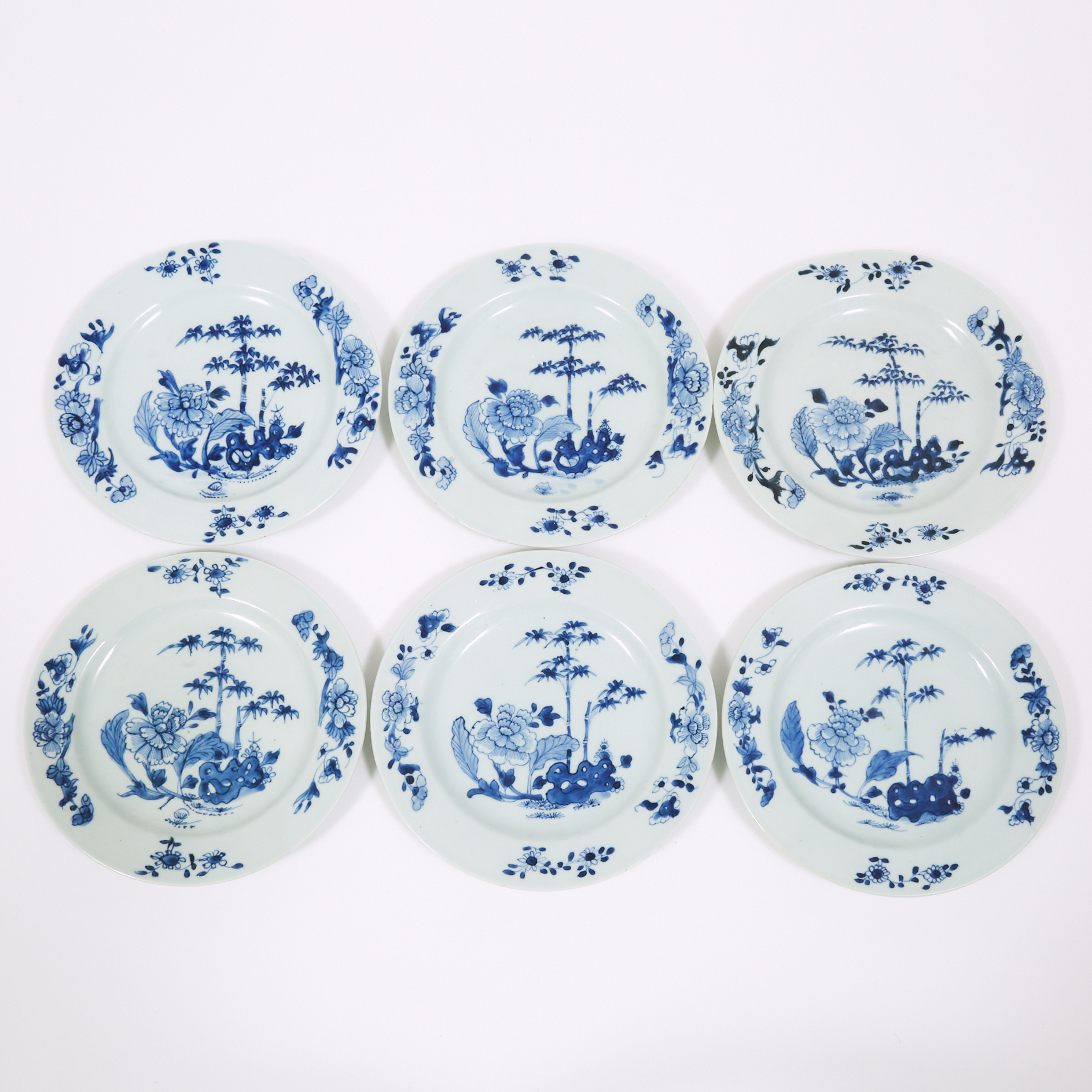 A Set of Six Blue and White 'Bamboo and Flowers' Plates