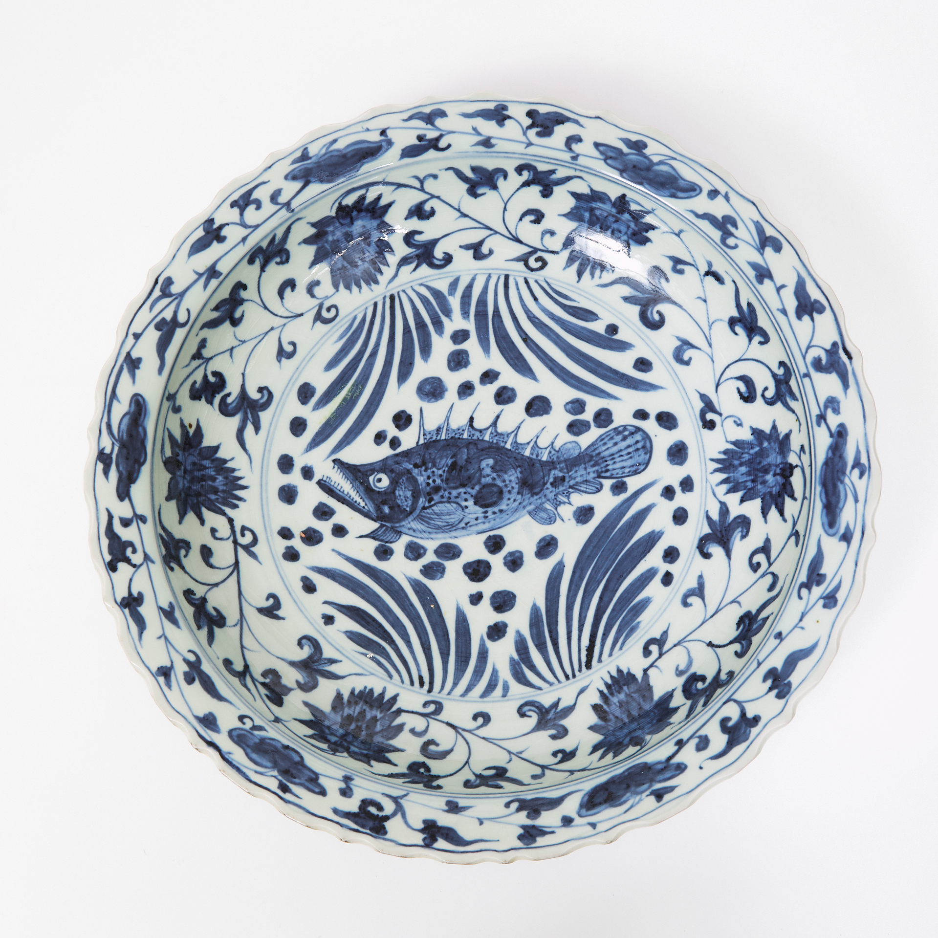 A Massive Blue and White 'Fish' Charger, Xuande Mark, 19th/20th Century