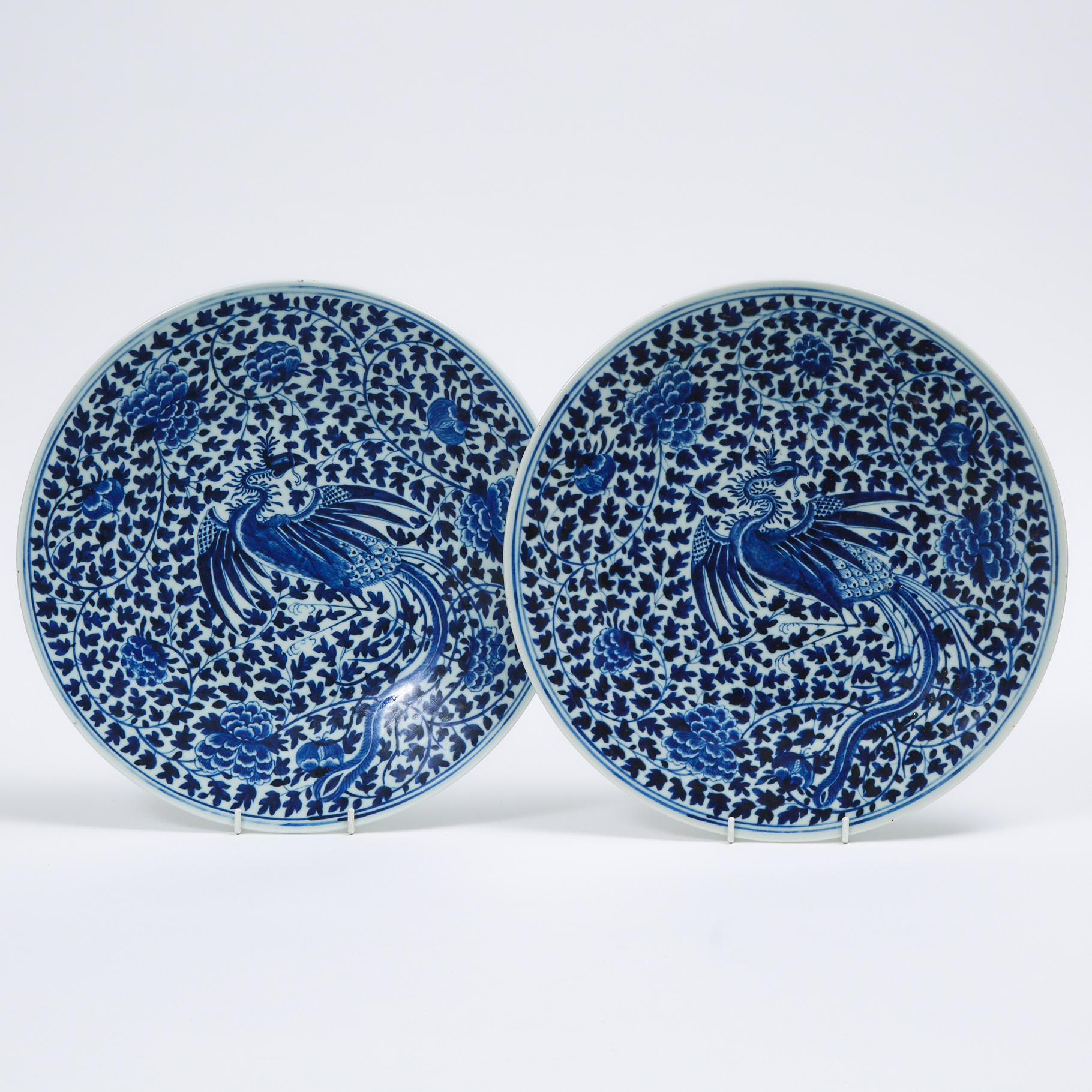 A Pair of Blue and White 'Phoenix' Chargers, Qianlong Mark, 19th Century
