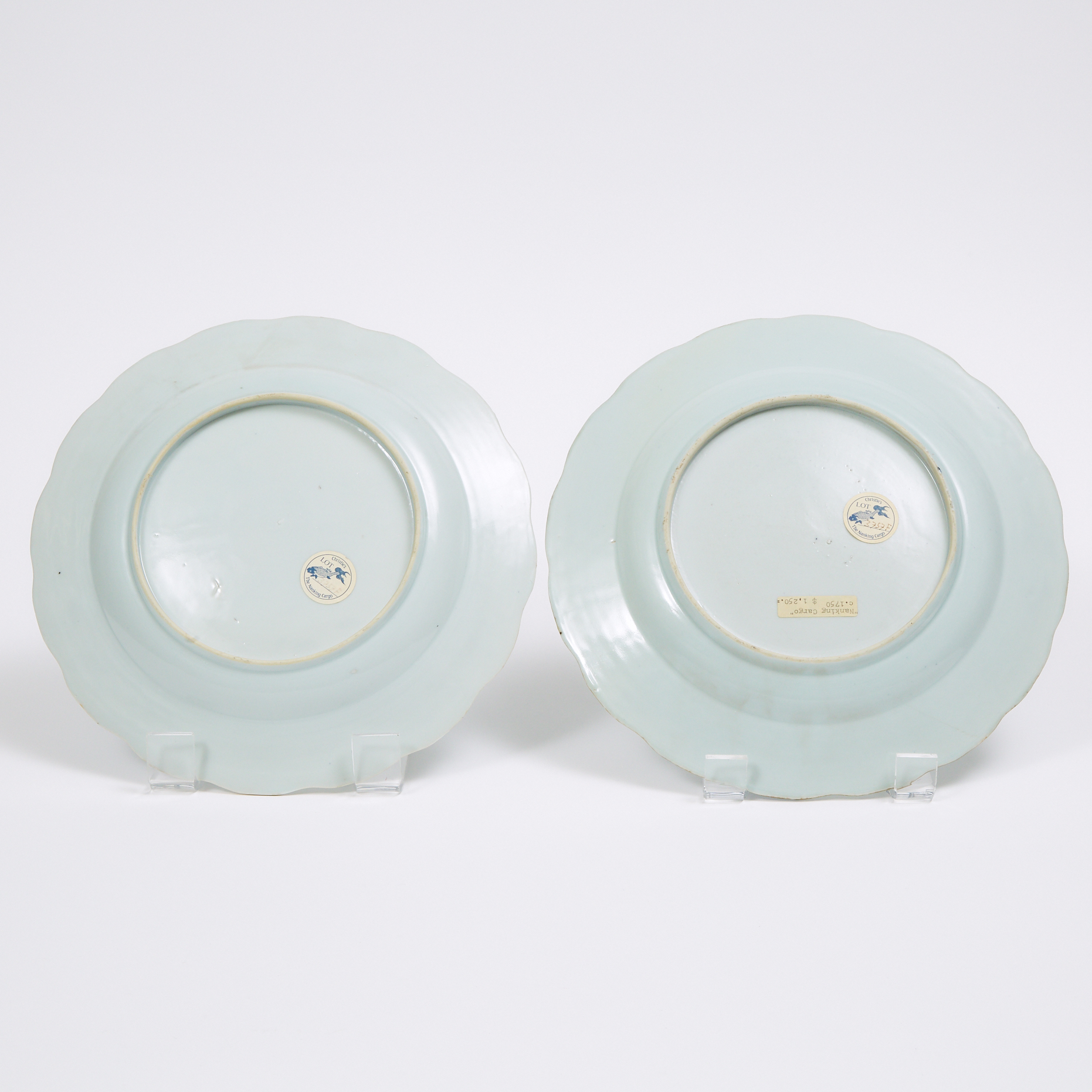 A Pair of 'Three Pavillions' Pattern Lobed Dishes from the Nanking Cargo, Qianlong Period, Circa 1750