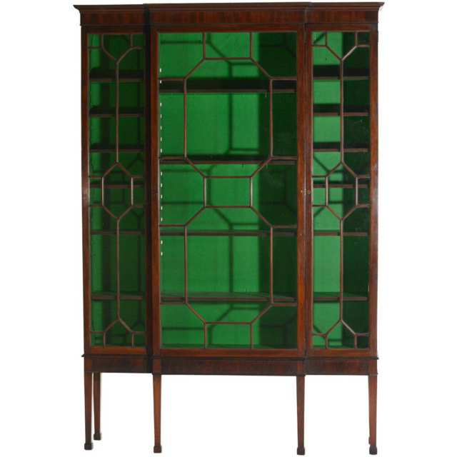 Edwardian Mahogany Breakfront Display Cabinet