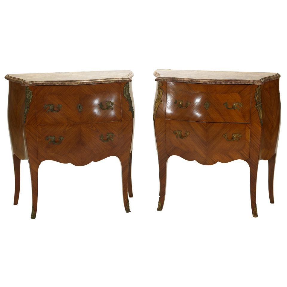 Pair of Small Tulipwood Bombé Commodes