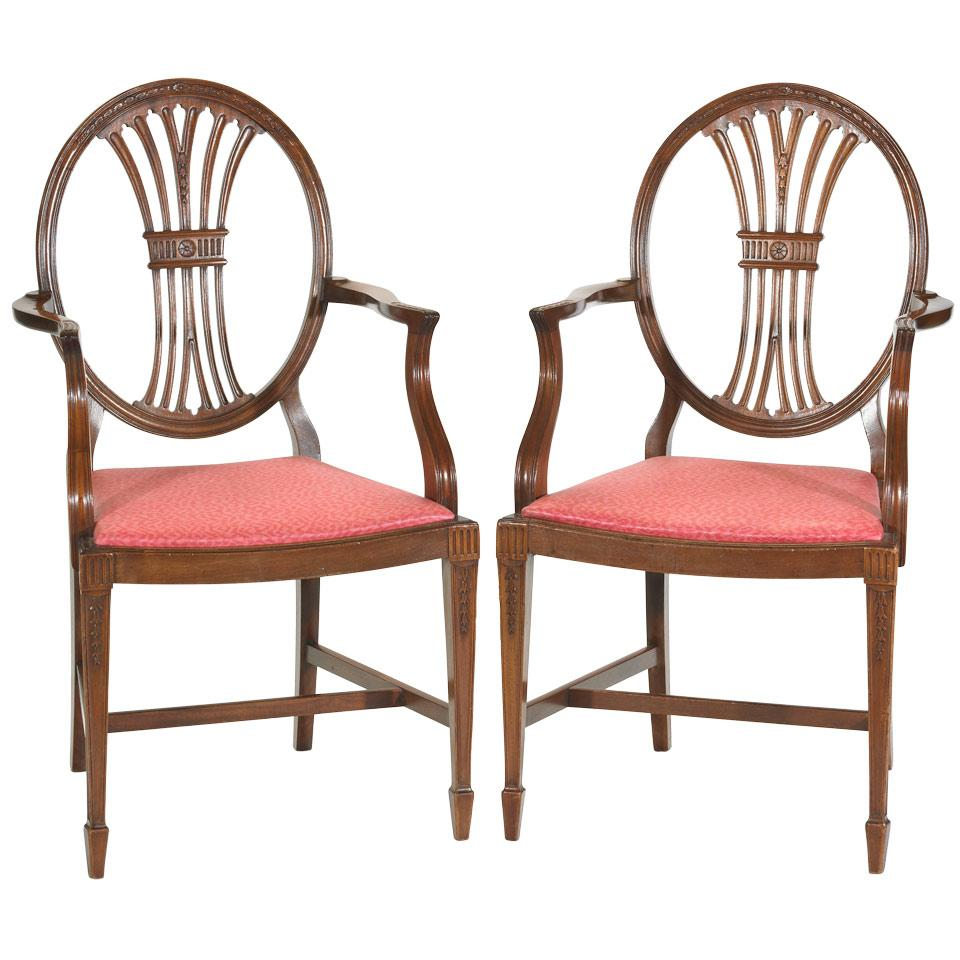 Pair of Mahogany Open Armchairs