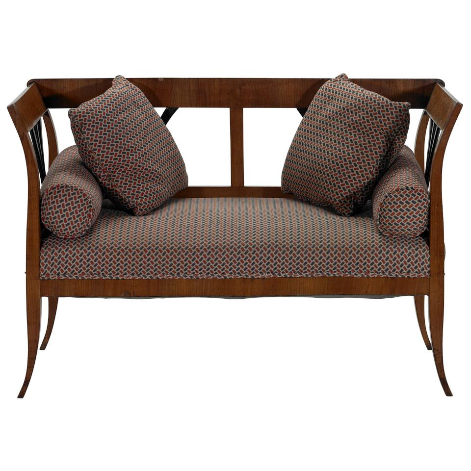 Fruitwood and Ebonized Small Settee