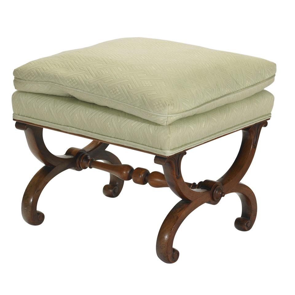 William IV Walnut Framed Footstool