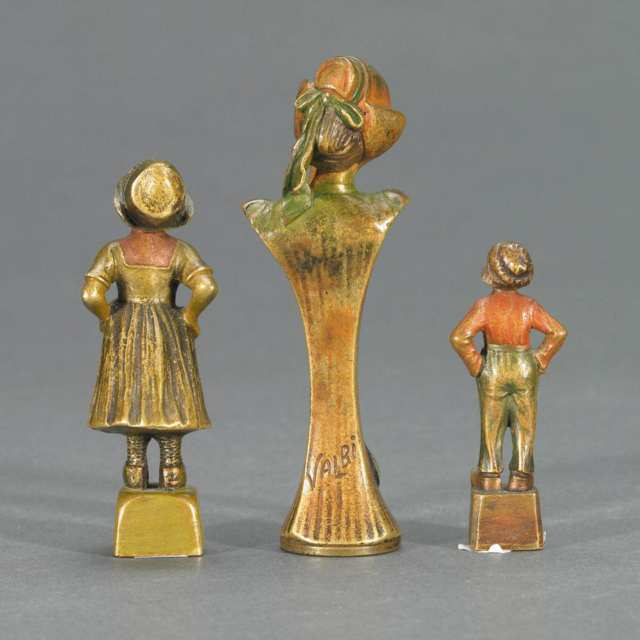 Group of Three Austrian Cold Painted Bronze Figural Desk Seals, 19th century