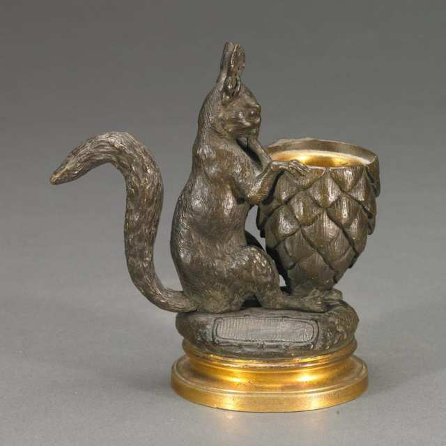 Jules Moigniez (French, 1835-1894)Patinated and Gilt Bronze Match Holder and Strike