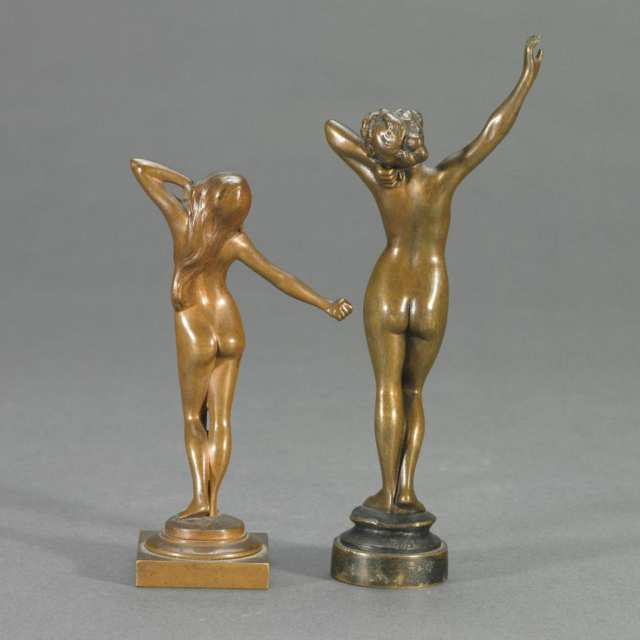 Two Small French Patinated Bronze Figural Nudes, c.1900