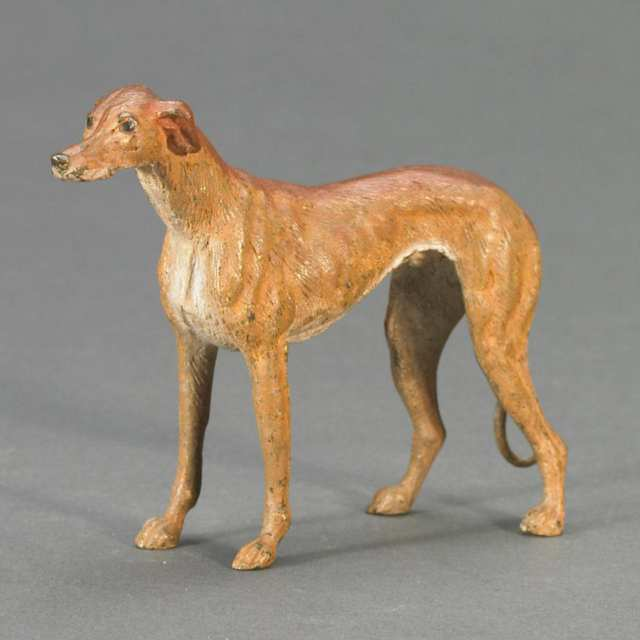 Austrian Cold Painted Bronze Figure of a Whippet/Hound, c.1920