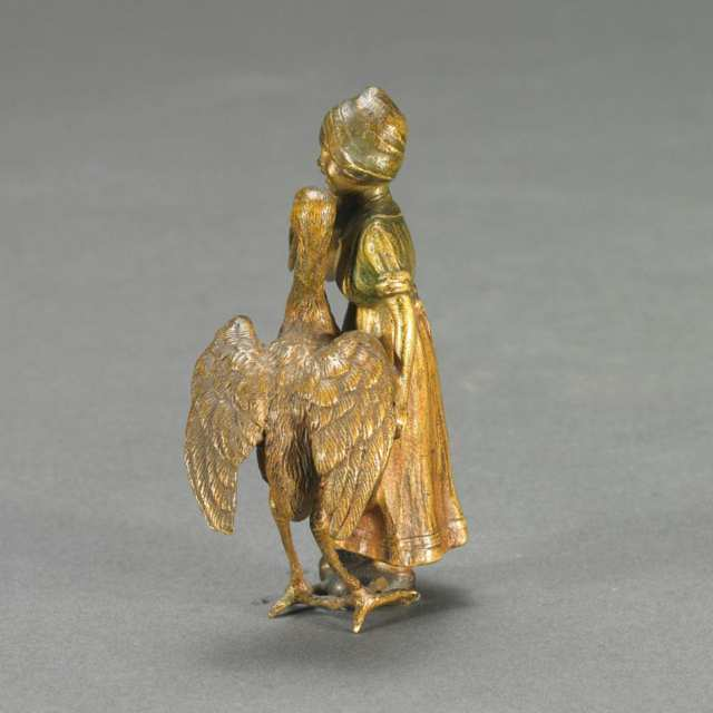 Austrian School, Small Cold Painted Bronze Group of Dutch Girl and Stork, c.1900