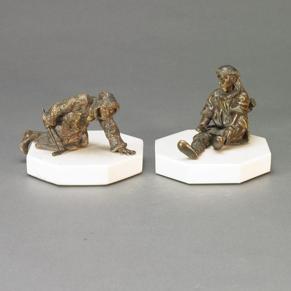 Russian School, Pair of Small Patinated Bronze Figures, Mongolian Ice Fisherman and Hunter, 19th century