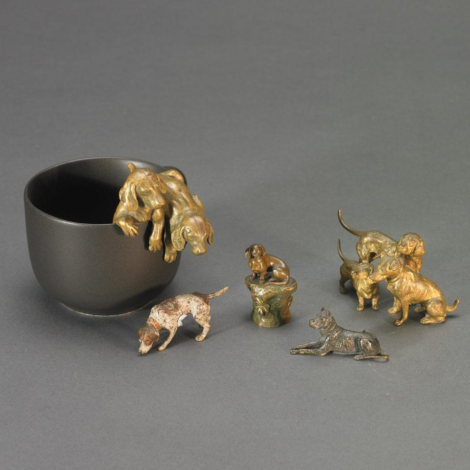 Group of Five Small Austrian Bronze Canine Figures, c. 1900
