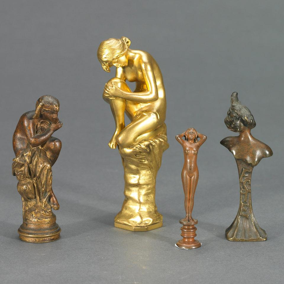 Group of Four Bronze Desk Seals, 19th century and later