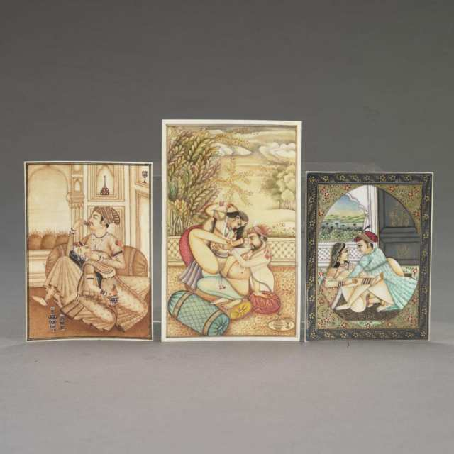 Three Erotic Painted Ivory Painted Miniatures, South Asia