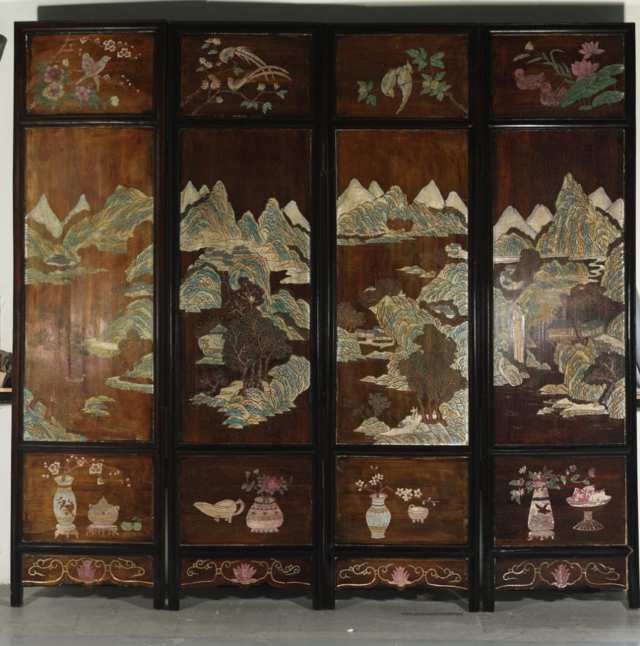 Four Panel Lacquer Screen