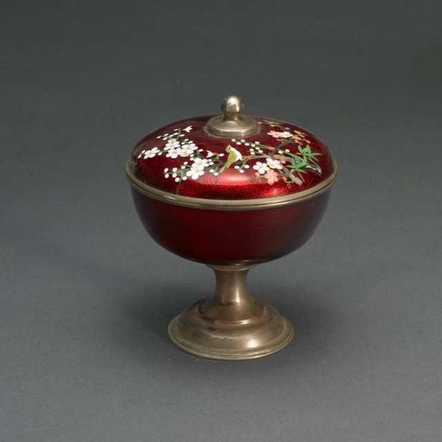 Red Cloisonne Footed Bowl