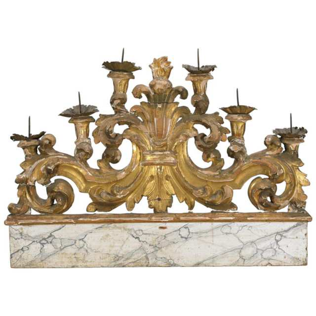 Italian Carved Faux Marble and Giltwood Votive Candle Stand, 19th Century