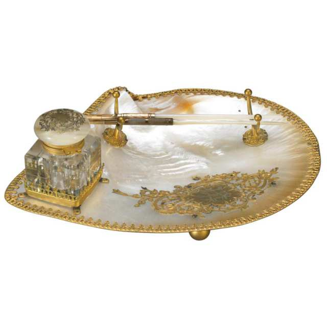 French Ormolu Mounted Abalone Pen and Ink Stand, c.1900