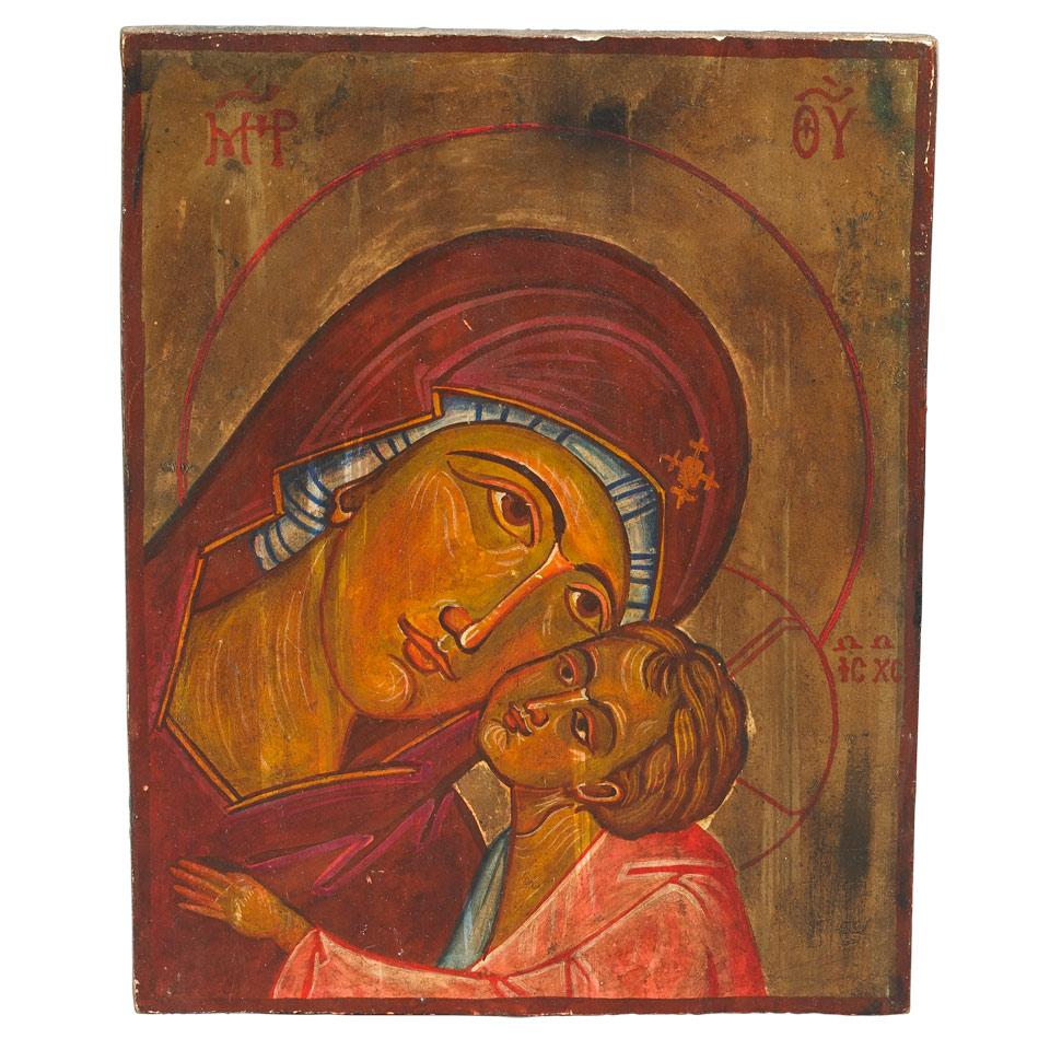 Russian Painted Icon of the Virgin and Child, early 20th century