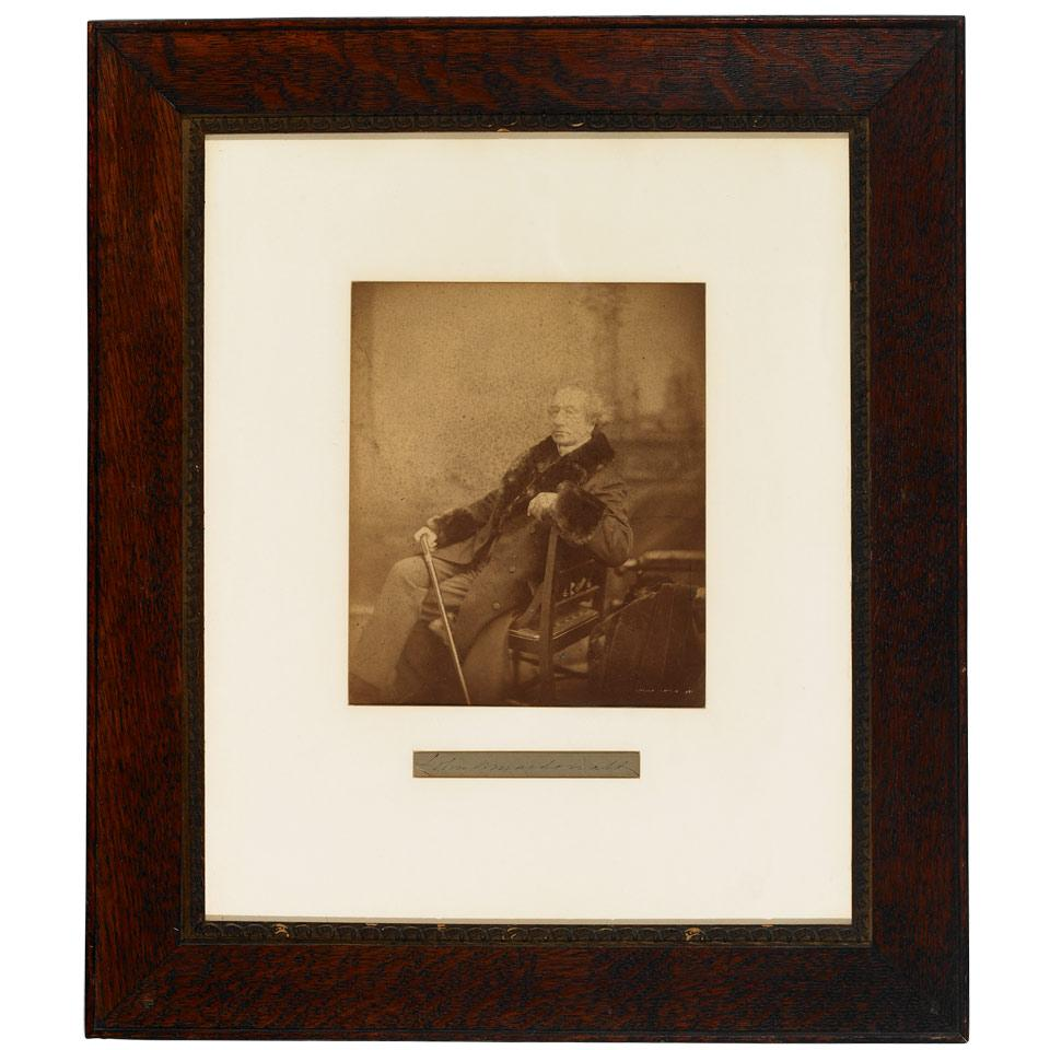 Sir John A. MacDonald, Portrait Photograph by William James Topley, Framed with Autograph, c.1890