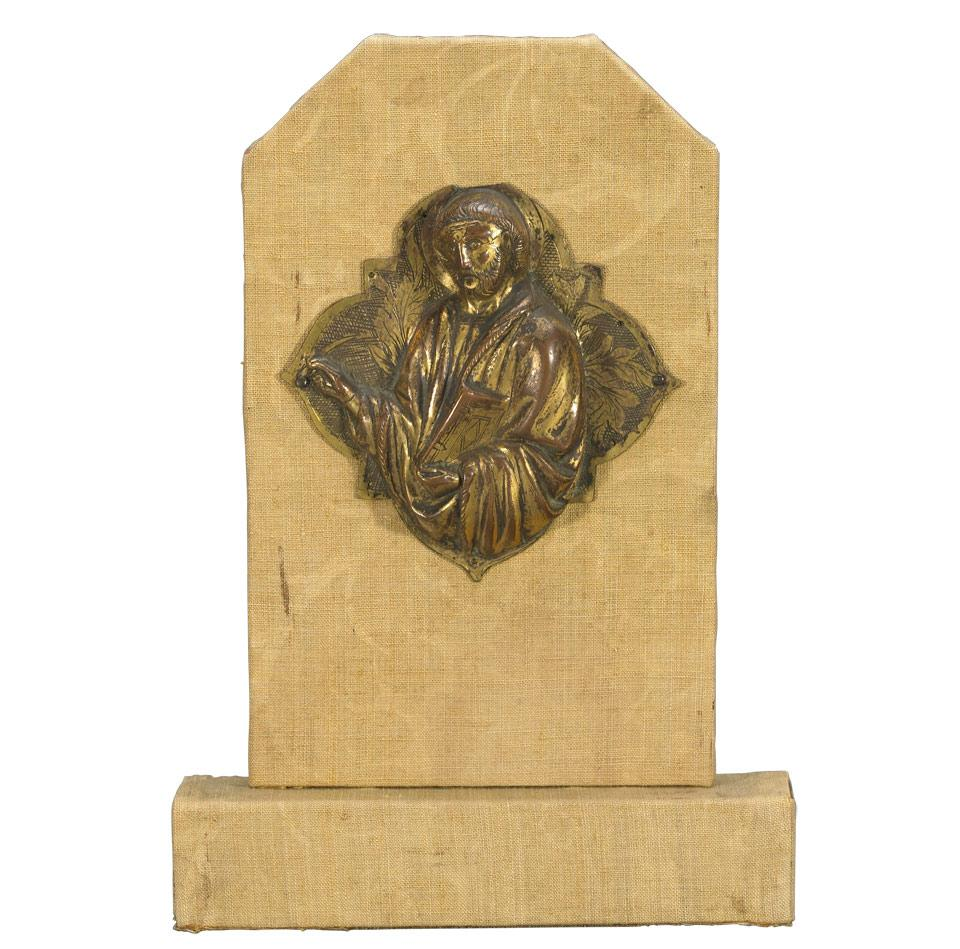Byzantine Style Gilt Bronze Repoussé Plaque of a Saint, 18th century