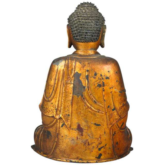 Gilt and Lacquered Bronze Figure of Buddha Akshobya, Ming Dynasty, 16th/17th Century