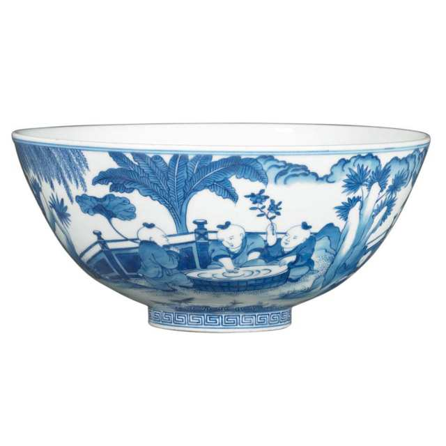 Blue and White Boys Bowl, Daoguang Mark