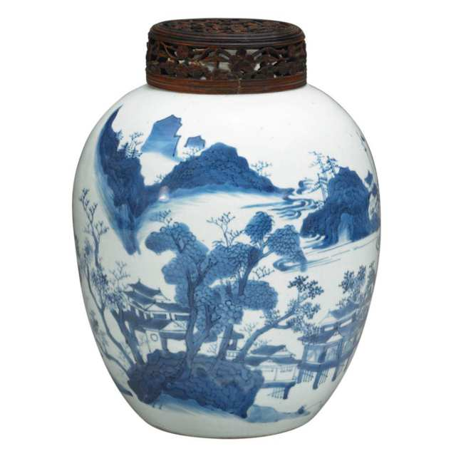 Blue and White Landscape Ginger Jar, Qing Dynasty, 19th Century