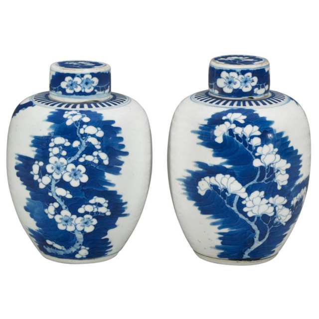 Pair of Blue and White Ginger Jars, Qing Dynasty, 19th Century