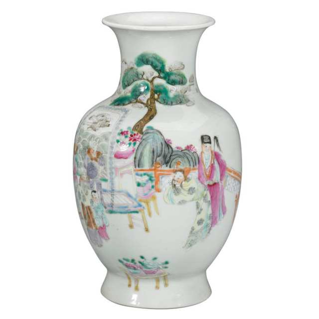 Famille Rose Vase, Qianlong Mark, Late 19th Century