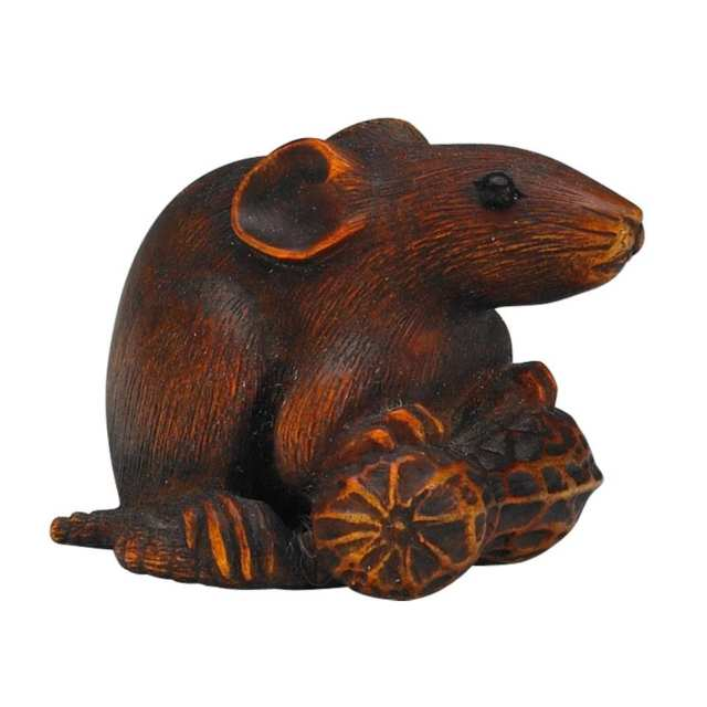 Boxwood Netsuke of a Rat, 19th Century