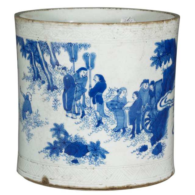 Blue and White Landscape Brushpot, Bitong