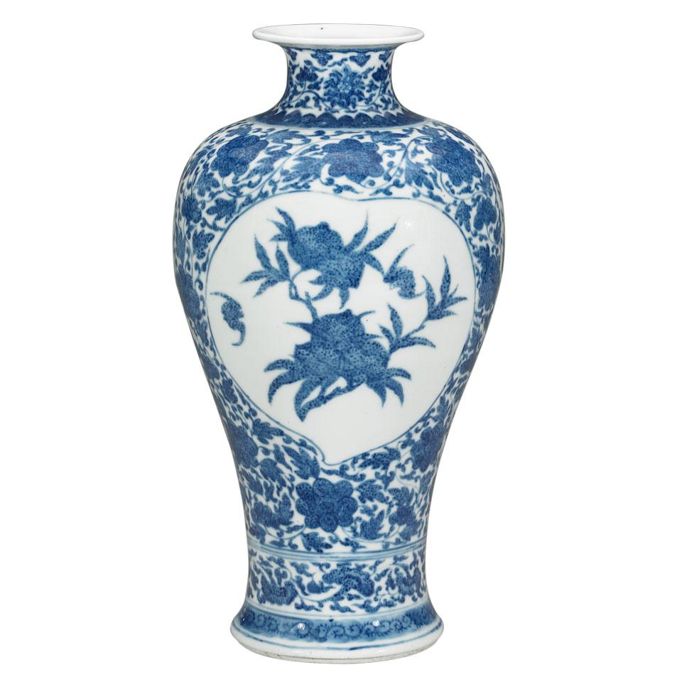 Blue and White 'Nine Peaches' Meiping Vase, Qianlong Mark, Qing Dynasty, Early 20th Century