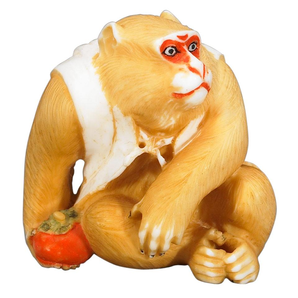Contemporary Tinted Ivory Netsuke of a Monkey