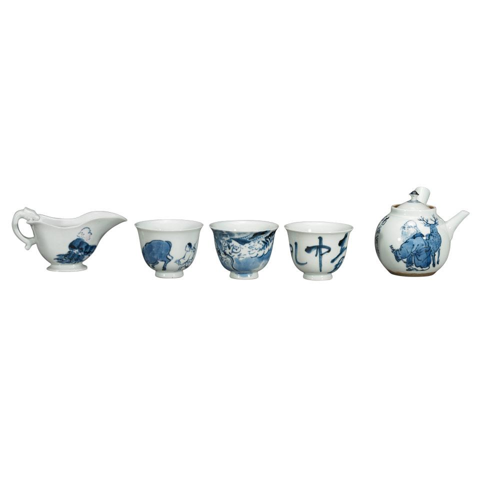 Complete Set of Five Blue and White Tea Ceremony Utensils, 19th Century