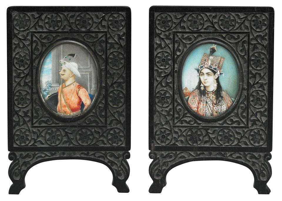Pair of Ebony Carved Stands with Ivory Portraits, 19th Century