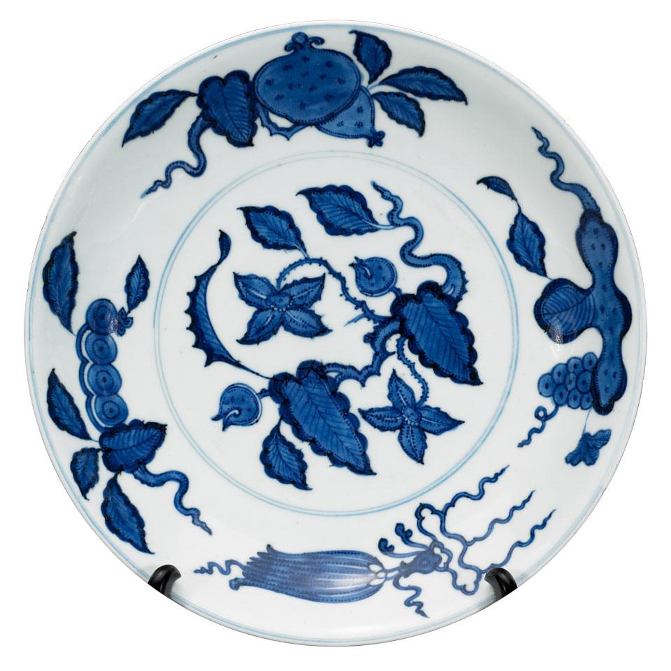 Large Blue and White Charger, Xuande Mark, Kangxi Period (1664-1722)