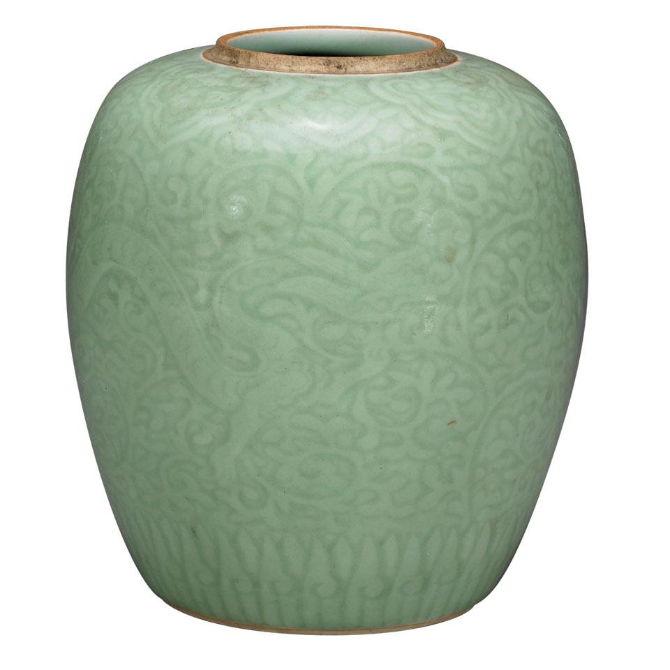 Celadon Ginger Jar, Qianlong Mark, 19th Century