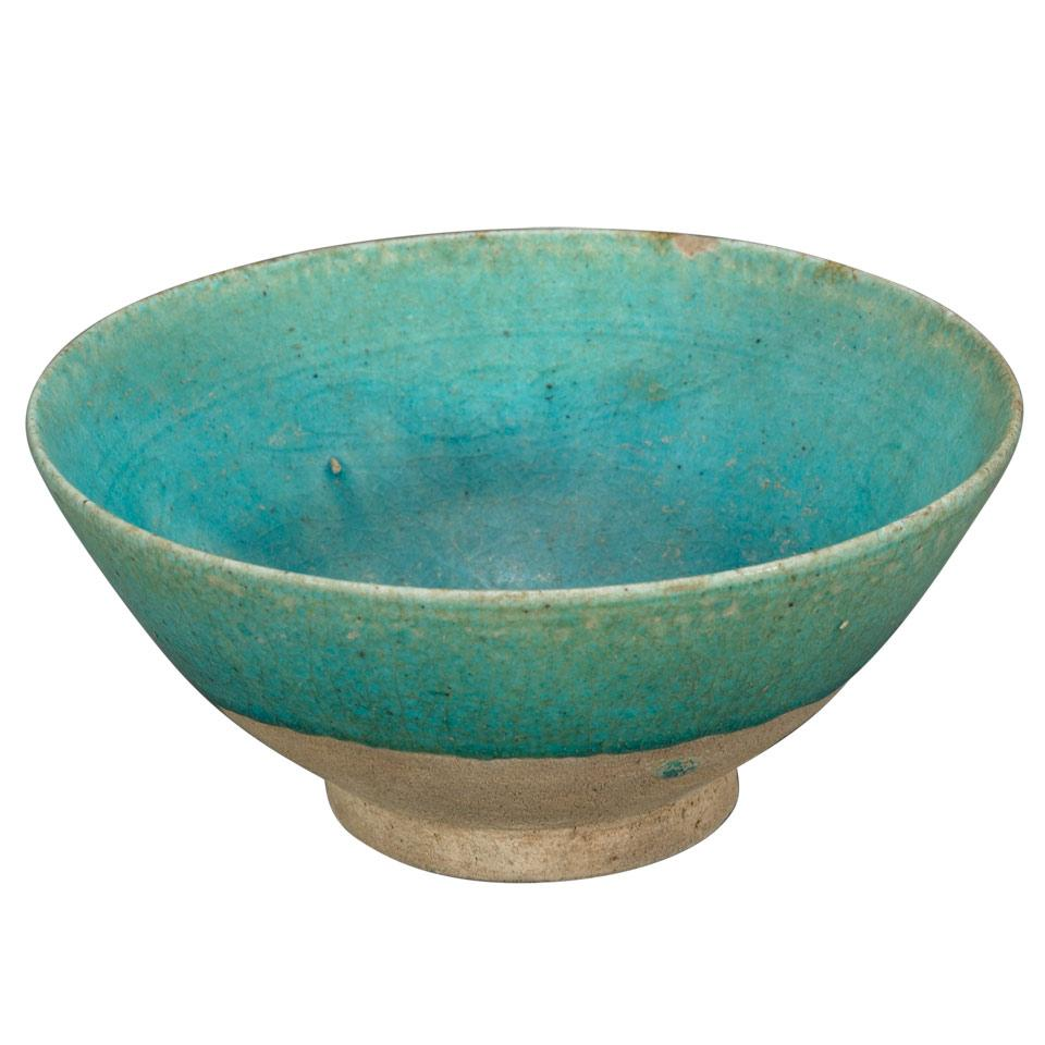 Kushan Turquoise Glazed Pottery Bowl, Persia, 13th Century