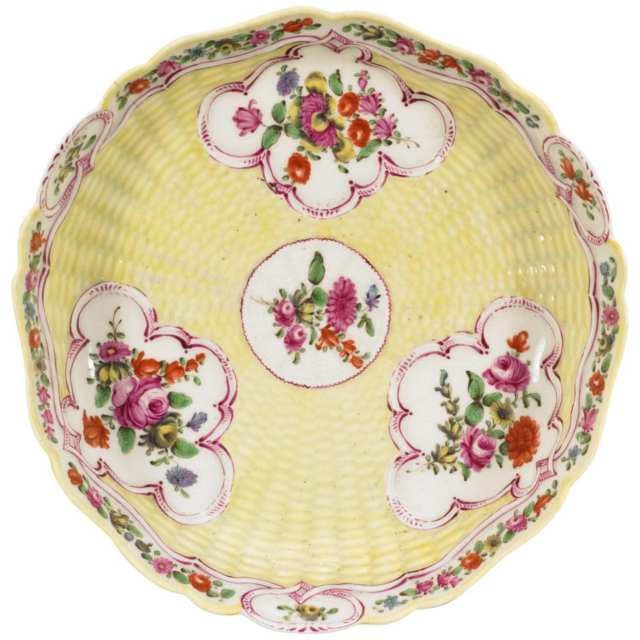 Worcester Yellow-Ground Moulded Basketweave Junket Dish, c.1770