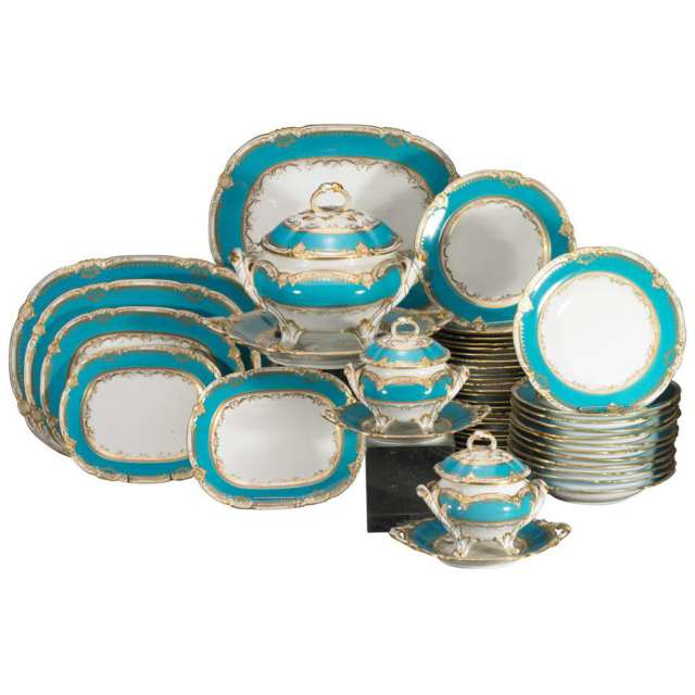 Minton Turquoise Banded and Gilt Porcelain Service, late 19th century