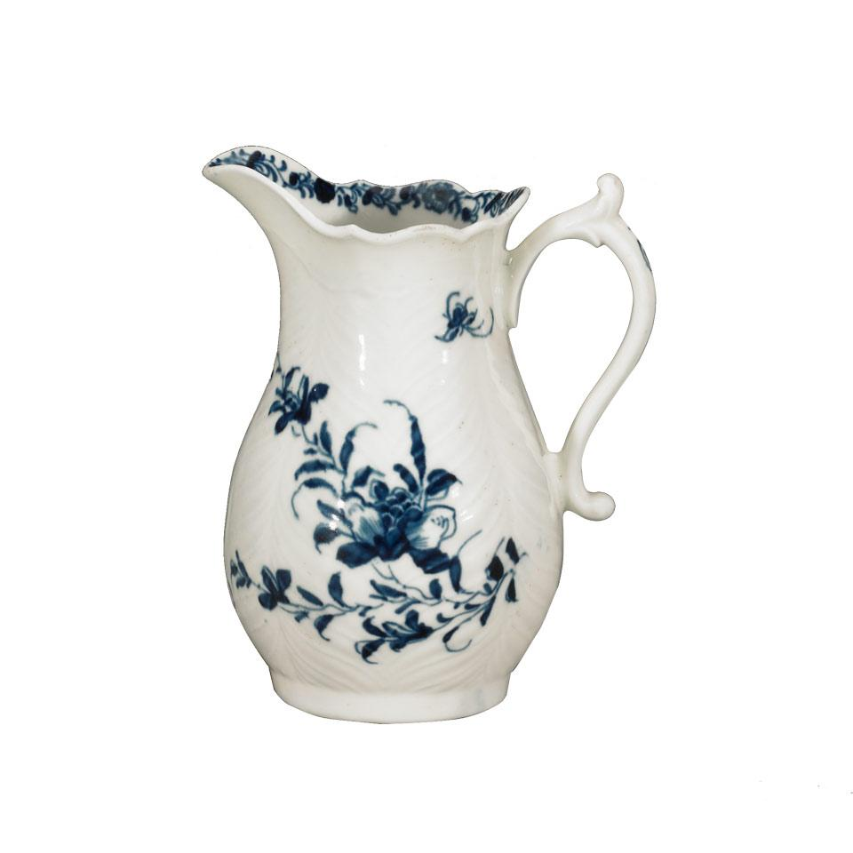 Worcester 'Feather Mould Floral' Cream Jug, c.1760