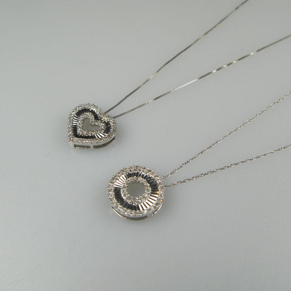 2 x 10k White Gold Pendants