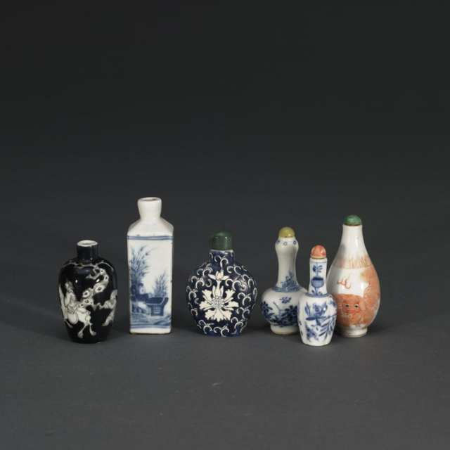 Group of Six Snuff Bottles