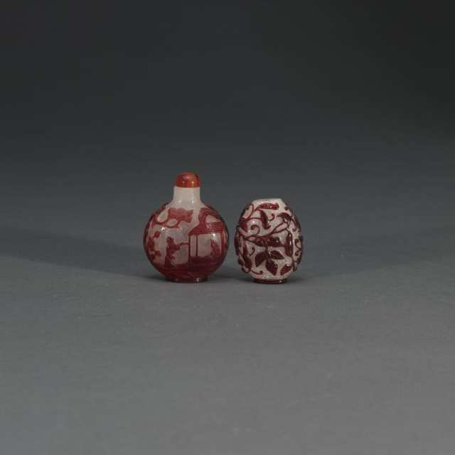 Two Red Overlay Snuff Bottles