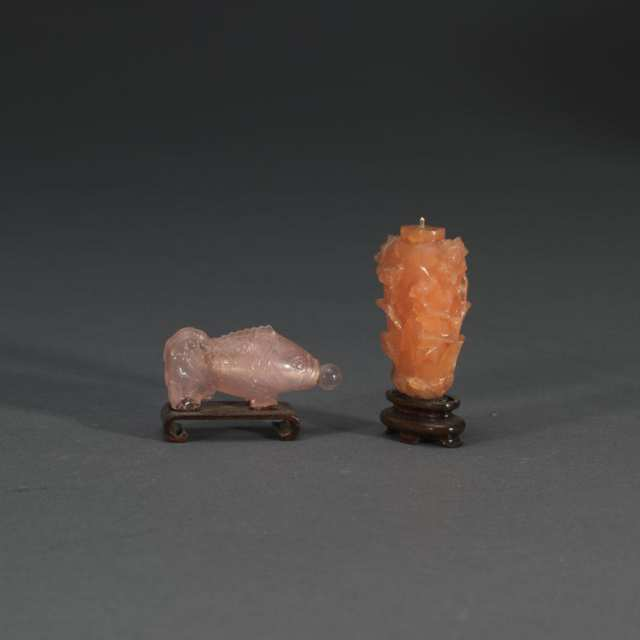 One Rose-Quartz Snuff Bottle and One Carnelian Snuff Bottle
