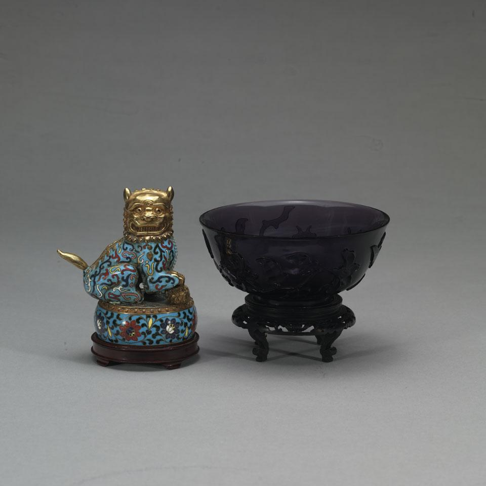 Peking Glass Bowl and Cloisonné Enamel Fu Lion Box