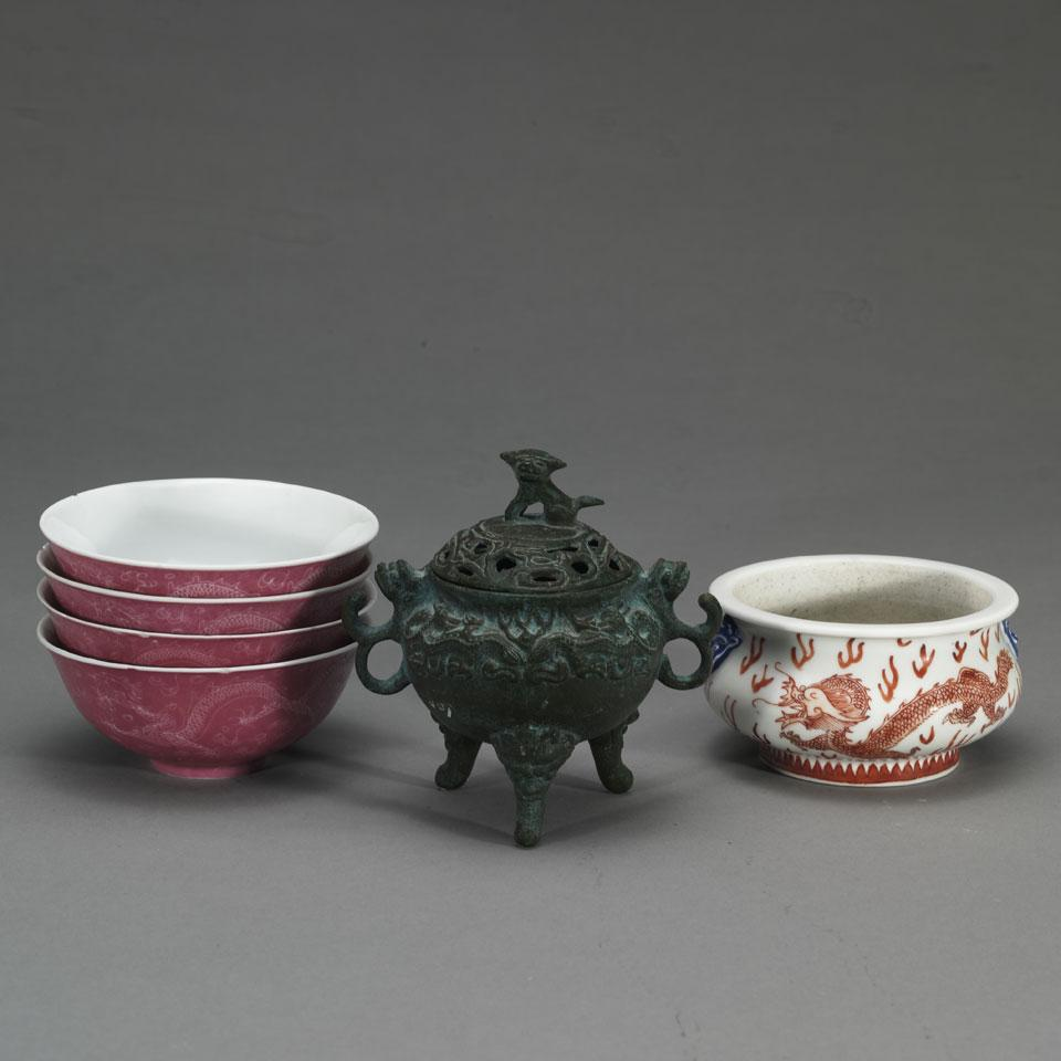 Five Porcelain Items and a Bronze Censer, 19th/20th Century