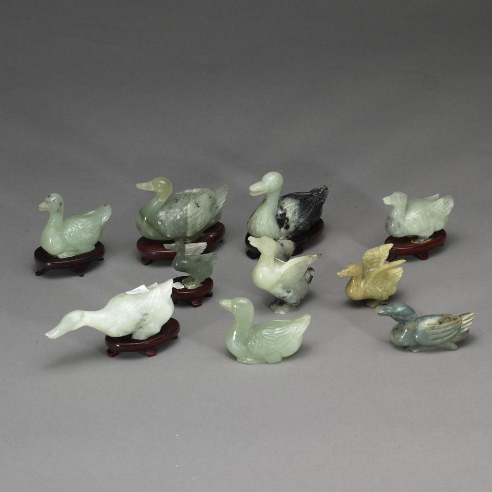 Ten Hardstone Ducks