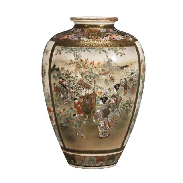 Finely Painted Satsuma Vase, Signed Shuzan, Late 19th Century